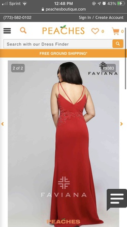 Style 9383 Faviana Red Size 12 Side slit Dress on Queenly
