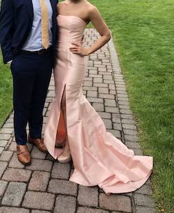 Sherri Hill Light Pink Size 2 Train Strapless Mermaid Dress on Queenly