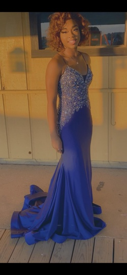 Rachel Allan Blue Size 4 Backless Train Ball gown on Queenly