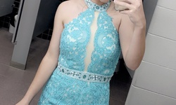 Queenly size 4  Blue Train evening gown/formal dress