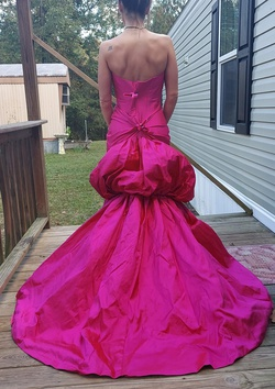 Jovani Hot Pink Size 8 Strapless Train Dress on Queenly