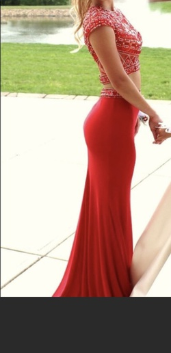 Mori Lee Red Size 2 Jewelled Backless Straight Dress on Queenly