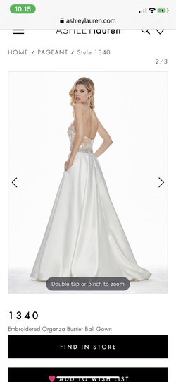 Style 1340 Ashley Lauren White Size 4 Halter Lace Train Dress on Queenly
