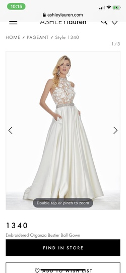 Queenly size 4 Ashley Lauren White Train evening gown/formal dress