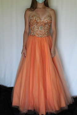 Terani couture Orange Size 2 Sweetheart Strapless Ball gown on Queenly