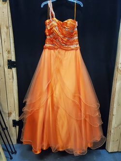 Queenly size 14 Mac Duggal Orange Ball gown evening gown/formal dress