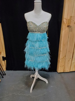 Queenly size 6 Mac Duggal Blue Cocktail evening gown/formal dress