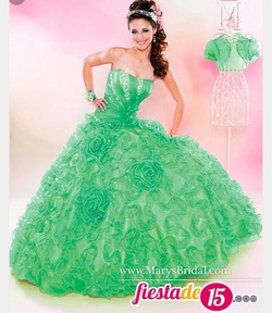 Queenly size 12 Marys bridal Green Ball gown evening gown/formal dress