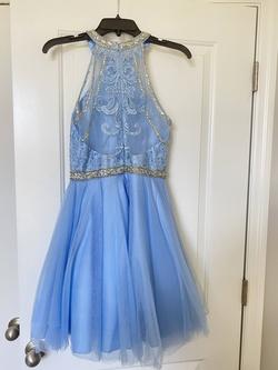 Coya Blue Size 4 Halter Belt Cocktail Dress on Queenly