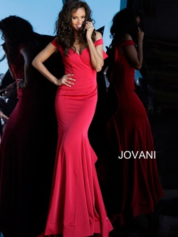 Style 61091 Jovani Red Size 2 Prom Ruffles Mermaid Dress on Queenly