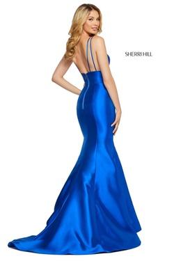 Style 53660 Sherri Hill Light Blue Size 4 Silk Mermaid Dress on Queenly