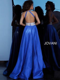 Jovani Blue Size 2 Halter Backless Straight Dress on Queenly