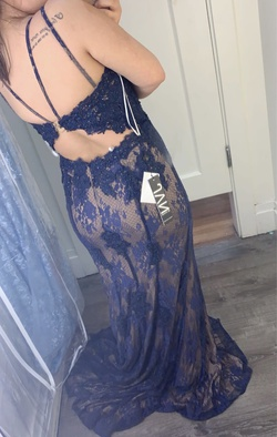 Jovani Blue Size 12 Navy Straight Dress on Queenly