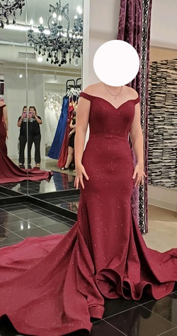 Jovani Red Size 12 Train Dress on Queenly