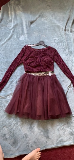 My Mitchell Red Size 8 Velvet Maroon Ball gown on Queenly
