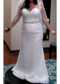 Queenly size 14  White Straight evening gown/formal dress
