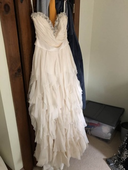 Queenly size 10  White Straight evening gown/formal dress