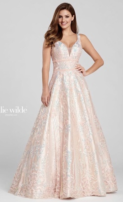 Queenly size 00 Ellie Wilde Gold A-line evening gown/formal dress