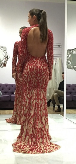 Jovani Red Size 4 Train Tall Height Custom Straight Dress on Queenly