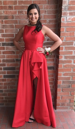 Queenly size 10 Sherri Hill Red Side slit evening gown/formal dress