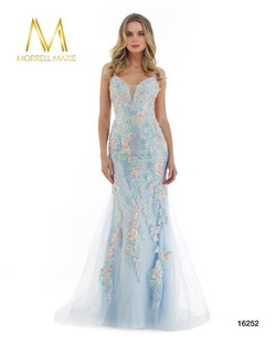Style 16252 Morrell Maxie Blue Size 6 Corset Tall Height Lace Mermaid Dress on Queenly