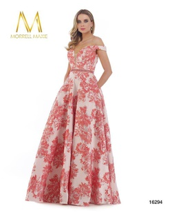 Style 16294 Morrell Maxie Red Size 18 Plunge Print Plus Size A-line Dress on Queenly