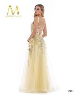 Style 16251 Morrell Maxie Yellow Size 12 Plunge Lace Plus Size A-line Dress on Queenly