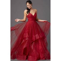 Terani Red Size 12 Tulle Ball gown on Queenly