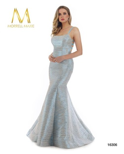 Style 16306 Morrell Maxie Blue Size 6 Cut Out Mermaid Dress on Queenly