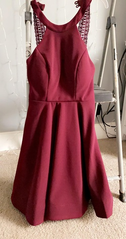 Queenly size 0 sequin hearts Red Straight evening gown/formal dress