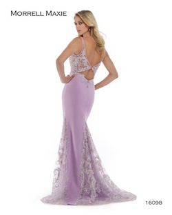 Style 16098 Morrell Maxie Purple Size 6 Prom Plunge Lace Mermaid Dress on Queenly