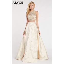 Queenly size 8 Alyce Paris Gold  evening gown/formal dress