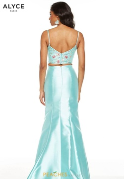 Style 60703 Alyce Paris Blue Size 10 Two Piece Fitted Silk Mermaid Dress on Queenly
