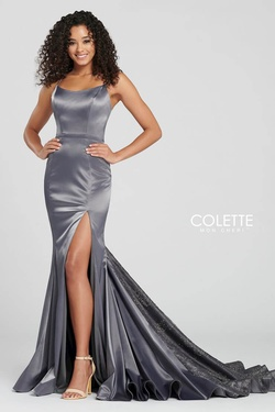 Style CL12030 Mon Cheri Purple Size 6 Train Prom Silk Side slit Dress on Queenly