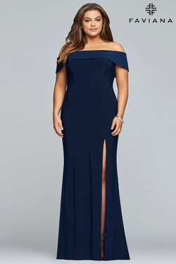 Style 9441 Faviana Blue Size 18 Jersey Prom Side slit Dress on Queenly