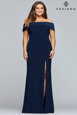 Queenly size 18 Faviana Blue Side slit evening gown/formal dress