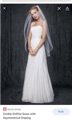 Davids Bridal White Size 4 Strapless Wedding Straight Dress on Queenly