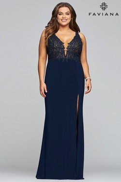 Queenly size 22 Faviana Blue Side slit evening gown/formal dress