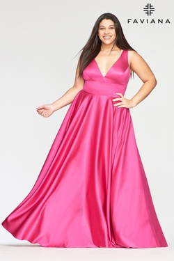 Style 9496 Faviana Hot Pink Size 20 Plunge Plus Size A-line Dress on Queenly