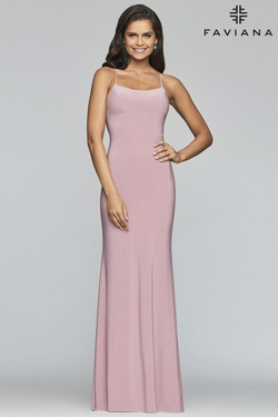 Style S10205 Faviana Pink Size 2 Jersey Lavender Prom Polyester Straight Dress on Queenly