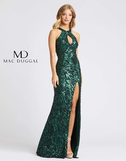 Queenly size 8 Mac Duggal Green Side slit evening gown/formal dress