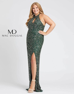 Queenly size 16 Mac Duggal Green Side slit evening gown/formal dress