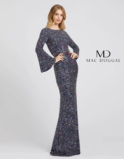Style 5014A Mac Duggal Blue Size 8 Jewelled Prom Multicolor Straight Dress on Queenly