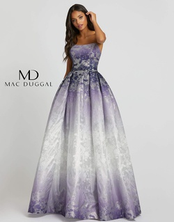 Style 12310H Mac Duggal Purple Size 4 Prom Strapless Ball gown on Queenly