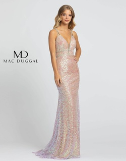 Style 77754A Mac Duggal Light Pink Size 2 Belt Pageant V Neck Straight Dress on Queenly