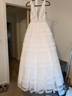 Sherri Hill White Size 4 Wedding Short Height Tulle Ball gown on Queenly