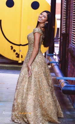 Gold Size 6 Ball gown on Queenly