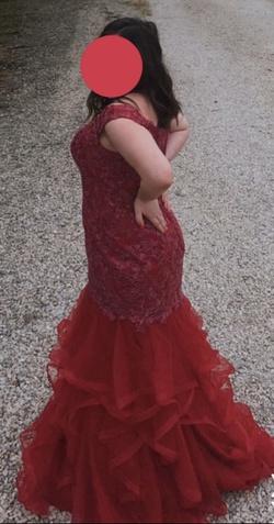 Sherri Hill Red Size 14 Ruffles Mermaid Dress on Queenly
