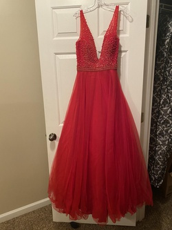 Milano Formals Red Size 8 Prom Plunge Ball gown on Queenly
