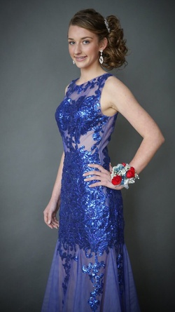 Jovani Blue Size 2 Sheer Mermaid Dress on Queenly